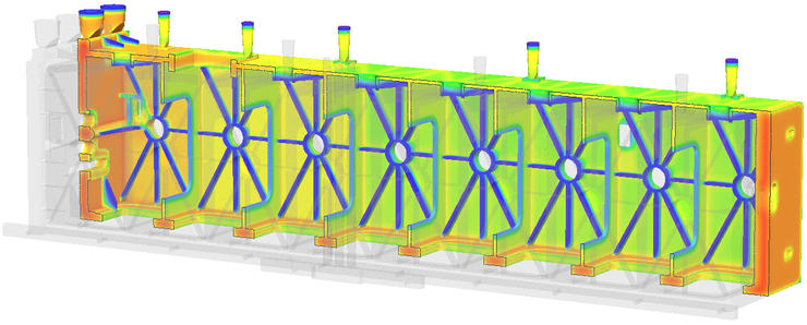 СКМ ЛП «ПолигонСофт»/«Фурье-3D». Температурное поле отливки (ЗАО «Петрозаводскмаш»)